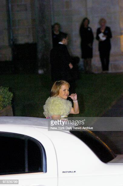 Katie Couric waves as she arrives at the Episcopal Church of BethesdabytheSea in Palm Beach Fla for the wedding of billionaire Donald Trump and...