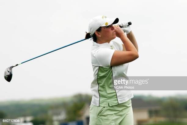 Katie Dick of Methodist University tees off during the Division III Women's Golf Championship held at Centennial Oaks Golf Club in Waverly IA Dick...