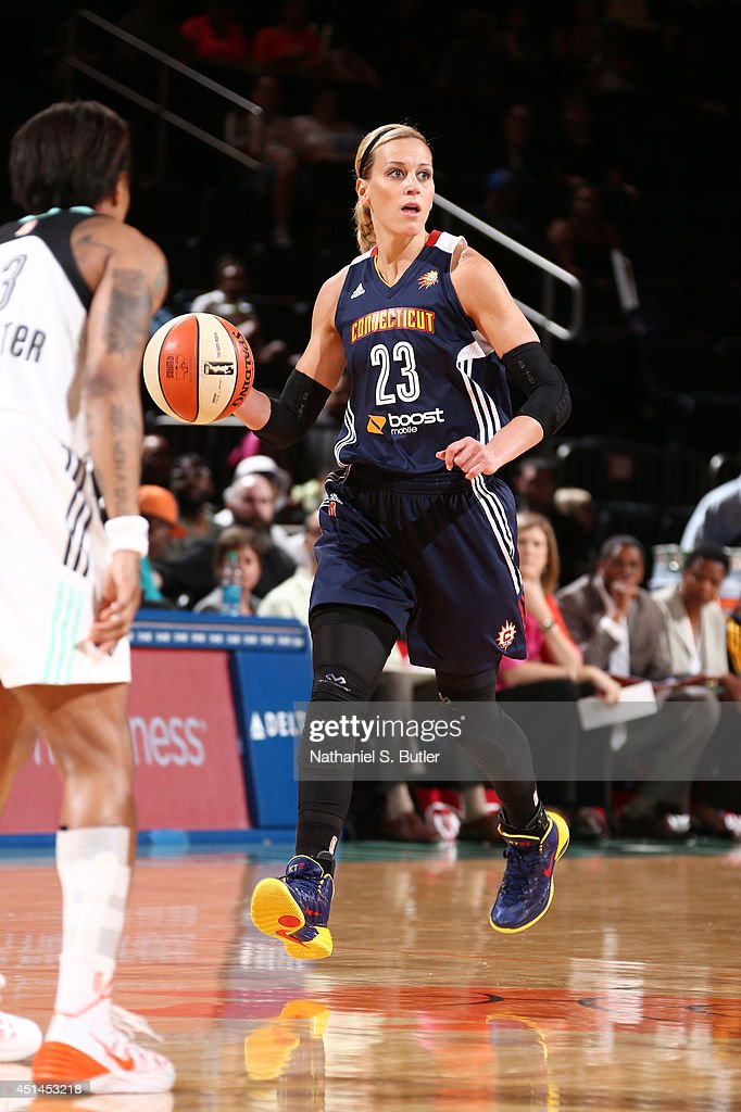 Katie Douglas of the Connecticut Sun dribbles the ball during a game against the New York Liberty at Madison Square Garden in New York City on June...