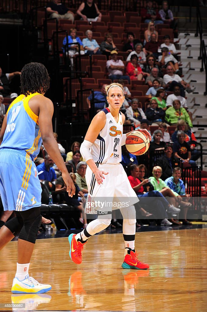 Katie Douglas of the Connecticut Sun dribbles the basketball against the Chicago Sky on August 5 2014 at the Mohegan Sun Arena in Uncasville...