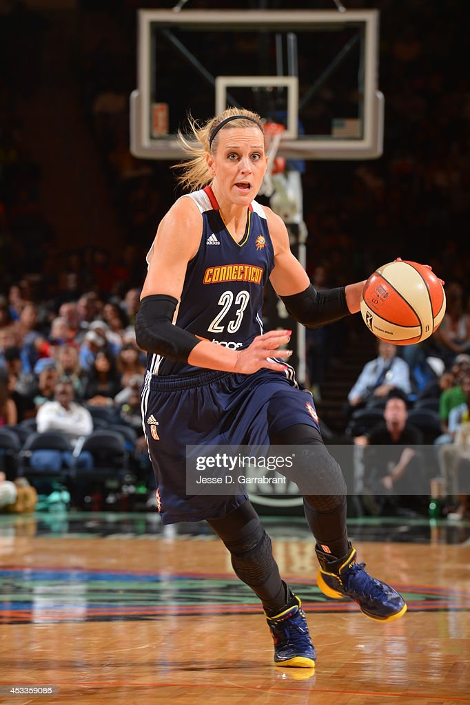 Katie Douglas of the Connecticut Sun drives against the New York Liberty during the game on August 8 2014 at Madison Square Garden in New York New...
