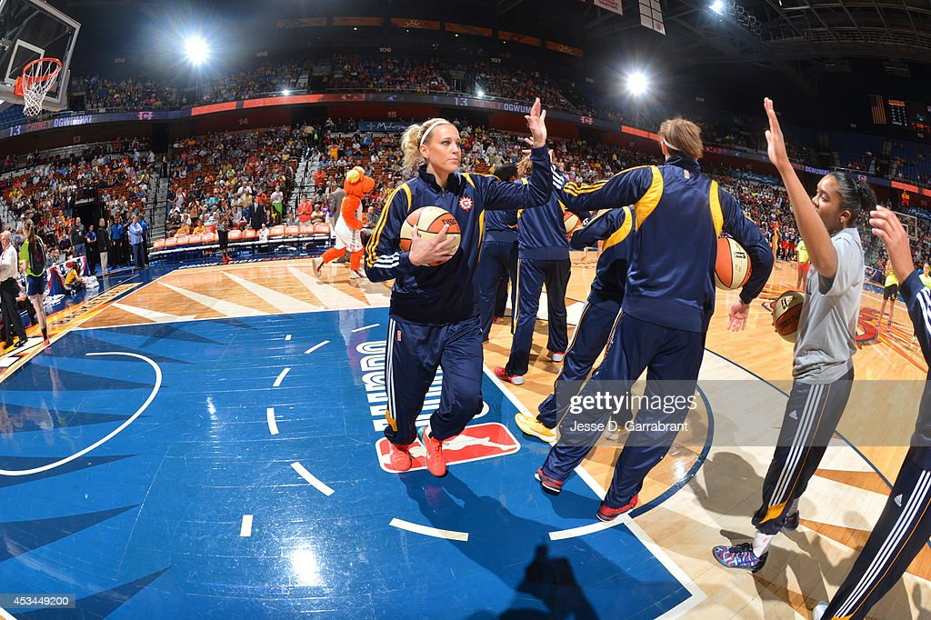 Katie Douglas of the Connecticut Sun is introduced against the Washington Mystics during the game on August 10 2014 at the Mohegan Sun in Uncasville...