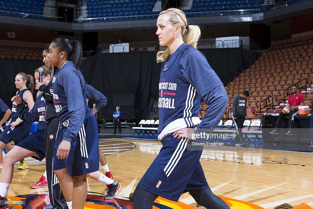 Katie Douglas of the Connecticut Sun practices after media day portraits on April 29 2014 at Mohegan Sun Arena in Uncasville Connecticut NOTE TO USER...