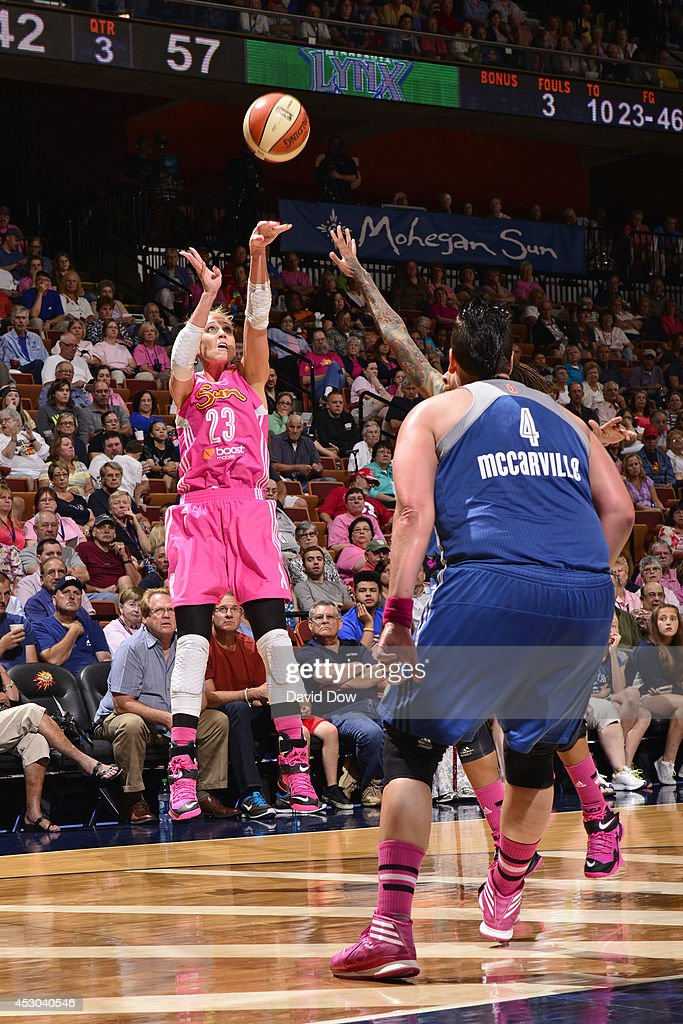 Katie Douglas of the Connecticut Sun shoots against the Minnesota Lynx on July 27 2014 at the Mohegan Sun Arena in Uncasville Connecticut NOTE TO...