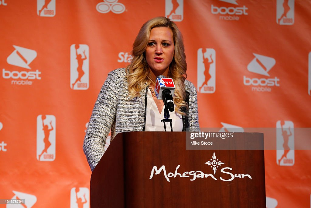 Katie Douglas of the Connecticut Sun speaks at a press conference annoucing the WNBA AllStar Game for 2015 on February 25 2015 at Mohegan Sun in...