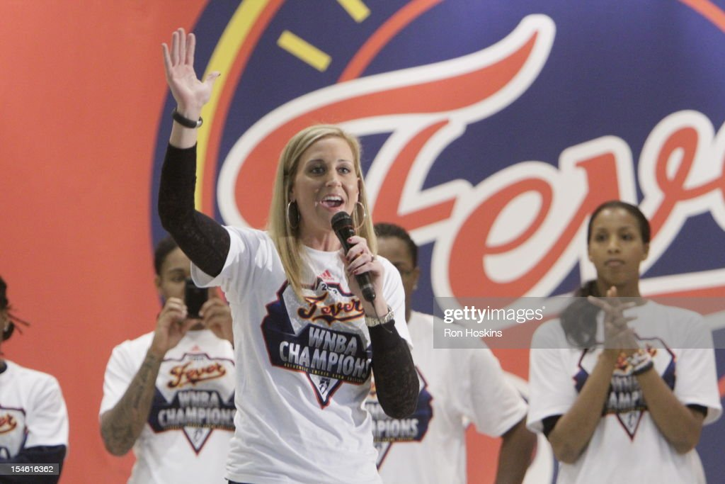 Katie Douglas of the Indiana Fever as she address fans during the Indiana Fever's WNBA Championship celebration on October 23, 2012 at Bankers Life Fieldhouse in Indianapolis, Indiana.