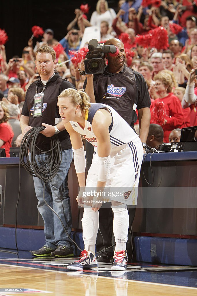 Katie Douglas of the Indiana Fever checks into the game against the Minnesota Lynx during Game four of the 2012 WNBA Finals on October 21 2012 at...