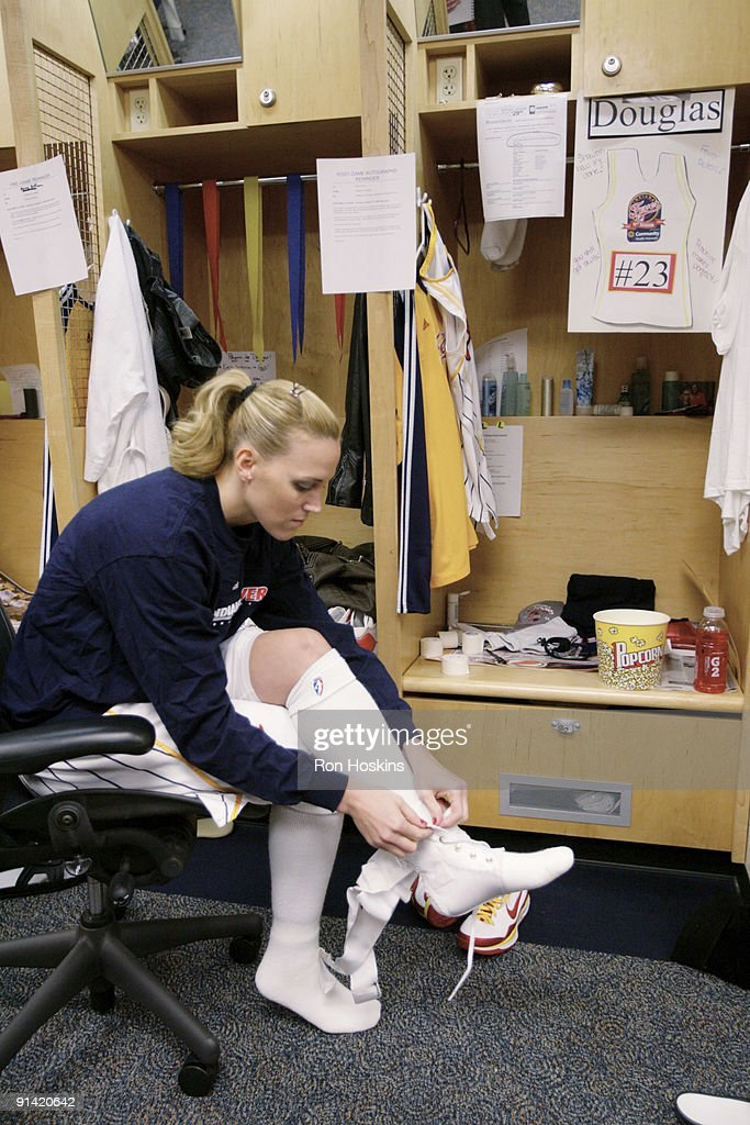 Katie Douglas of the Indiana Fever gets ready prior to the game against the Phoenix Mercury in Game Three of the WNBA Finals on October 4 2009 at...