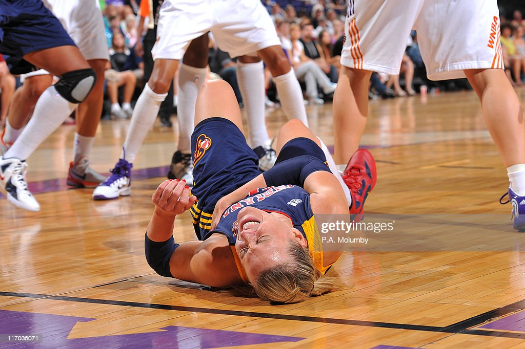 Katie Douglas of the Indiana Fever is injured against the Phoenix Mercury on June 19 2011 at US Airways Center in Phoenix Arizona NOTE TO USER User...
