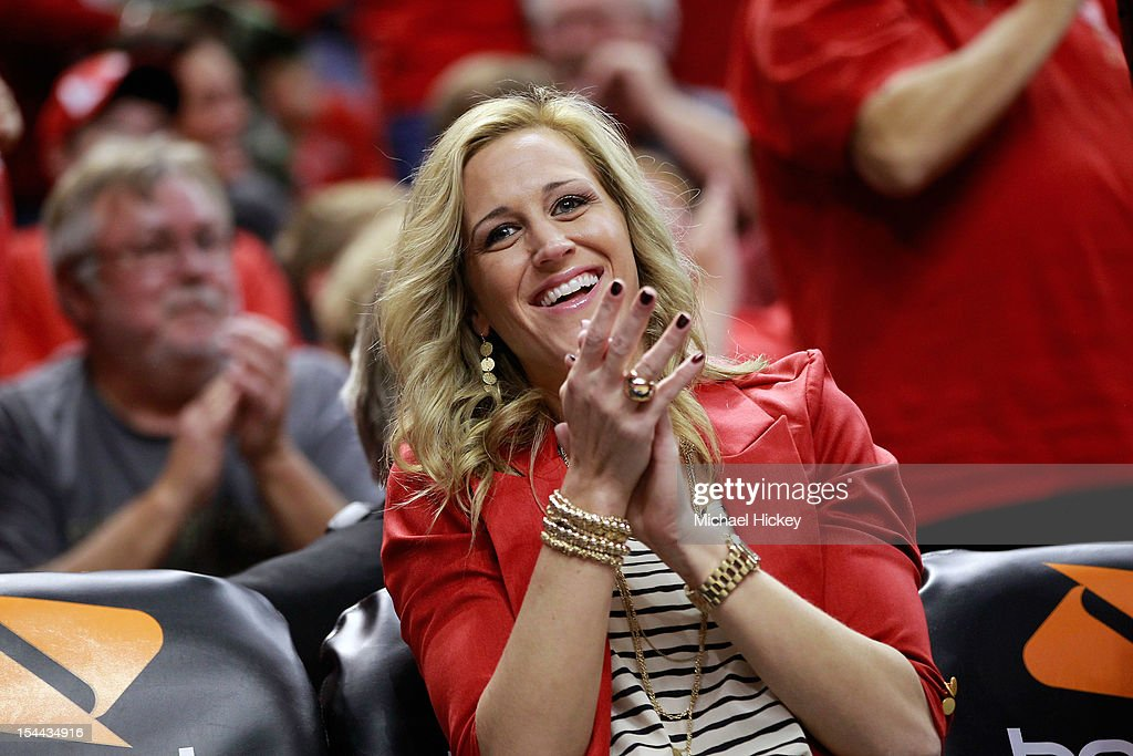 <a gi-track='captionPersonalityLinkClicked' href=/galleries/search?phrase=Katie+Douglas&family=editorial&specificpeople=213099 ng-click='$event.stopPropagation()'>Katie Douglas</a> #23 of the Indiana Fever reacts from the bench during action against the Minnesota Lynx during Game Three of the 2012 WNBA Finals on October 19, 2012 at Bankers Life Fieldhouse in Indianapolis, Indiana.