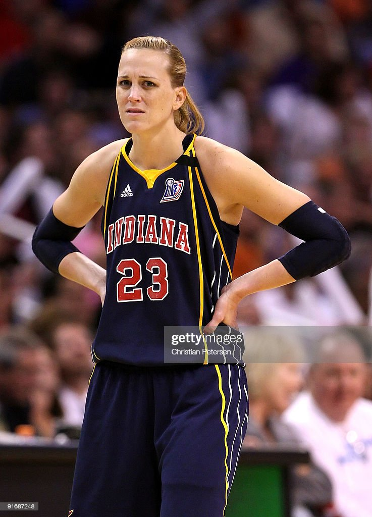 <a gi-track='captionPersonalityLinkClicked' href=/galleries/search?phrase=Katie+Douglas&family=editorial&specificpeople=213099 ng-click='$event.stopPropagation()'>Katie Douglas</a> #23 of the Indiana Fever reacts to a call in Game Five of the 2009 WNBA Finals against the Phoenix Mercury at US Airways Center on October 9, 2009 in Phoenix, Arizona. The Mercury defeated the Fever 94-86.