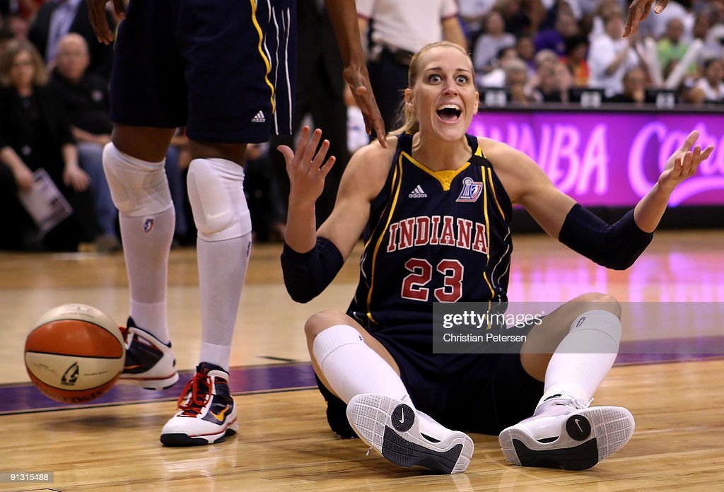 <a gi-track='captionPersonalityLinkClicked' href=/galleries/search?phrase=Katie+Douglas&family=editorial&specificpeople=213099 ng-click='$event.stopPropagation()'>Katie Douglas</a> #23 of the Indiana Fever reacts to a call in Game Two of the 2009 WNBA Finals against the Phoenix Mercury at US Airways Center on October 1, 2009 in Phoenix, Arizona.