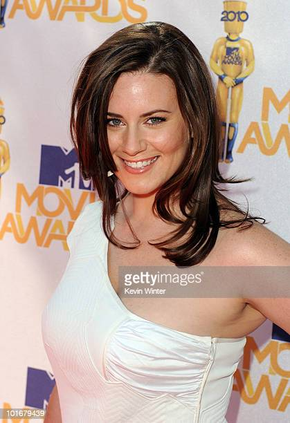 Katie Featherston arrives at the 2010 MTV Movie Awards held at the Gibson Amphitheatre at Universal Studios on June 6 2010 in Universal City...