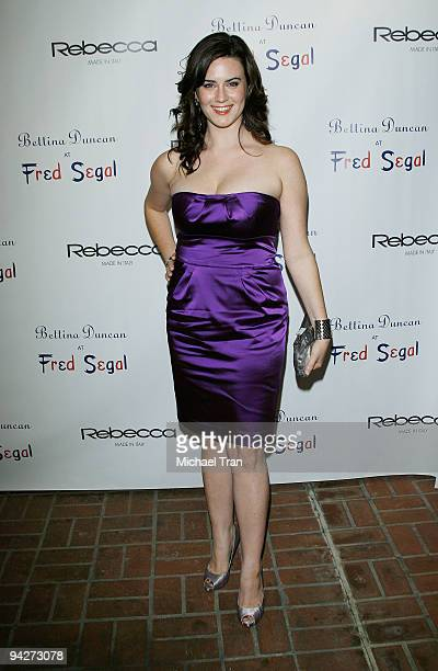 Katie Featherston arrives to the Rebecca Jewelry Celebrity Holiday cocktail party held at Fred Segal on December 10 2009 in Santa Monica California