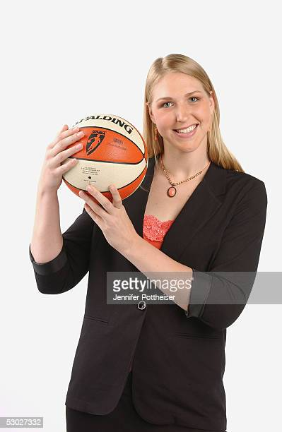 Katie Feenstra poses for a portrait after being chosen by the Connecticut Sun during the 2005 WNBA Draft on April 16 2005 in Secaucus New Jersey NOTE...