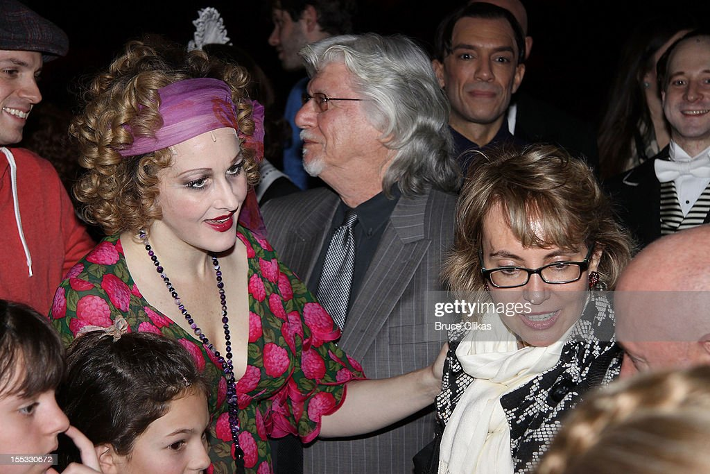 Katie Finneran as 'Miss Hannigan', Annie composer Martin Charnin and Gabrielle Giffords backstage at the hit revival of 'Annie' on Broadway at The Palace Theater on November 2, 2012 in New York City.