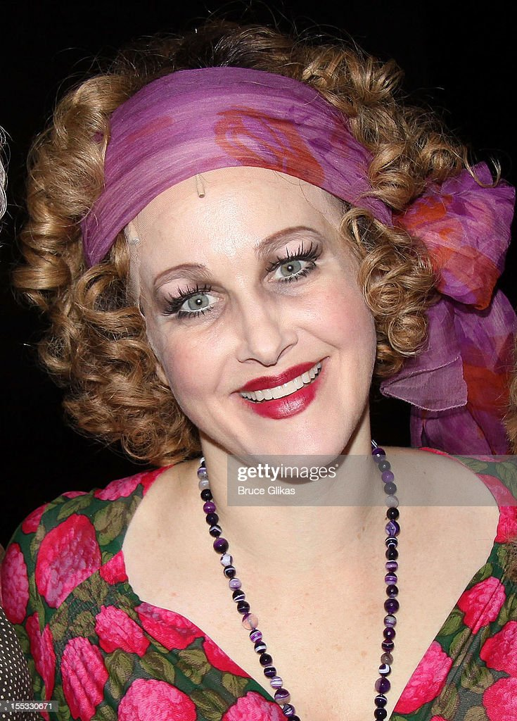 <a gi-track='captionPersonalityLinkClicked' href=/galleries/search?phrase=Katie+Finneran&family=editorial&specificpeople=778124 ng-click='$event.stopPropagation()'>Katie Finneran</a> as 'Miss Hannigan' poses backstage at the hit revival of 'Annie' on Broadway at The Palace Theater on November 2, 2012 in New York City.