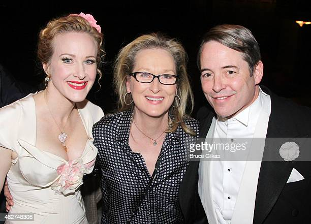 Katie Finneran Meryl Streep and Matthew Broderick pose backstage at the hit play 'It's Only a Play' on Broadway at The Jacobs Theater on February 3...