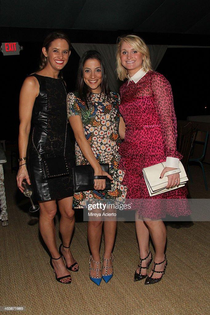 Katie Goodwin, Mona Swanson and Yelena Katchan attend the Artsy celebration for CalArts' John Baldessari Studios, with Audi, Valentino, and Vhernier at Soho Beach House on December 5, 2013 in Miami Beach, Florida.