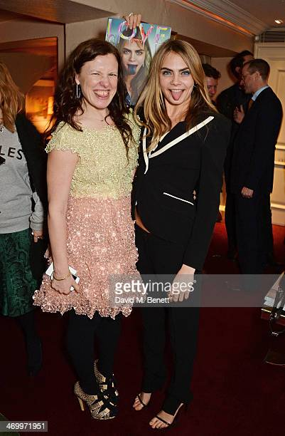 Katie Grand and Cara Delevingne attend the launch of LOVE special editions at George on February 17 2014 in London England