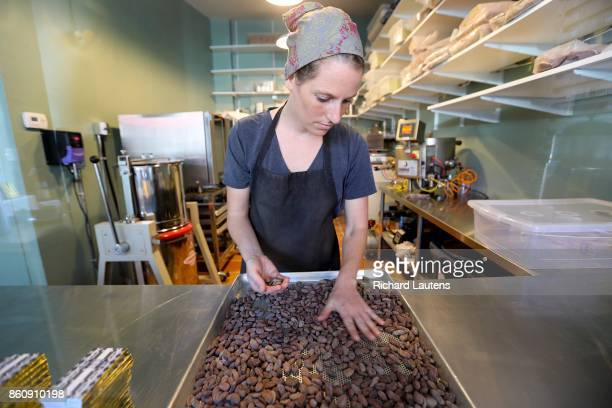 TORONTO ON OCTOBER 5 Katie hand sorts Dominican cacao beans Soul Chocolate is now open for business on Gerrard Street East at Broadview Owners and...