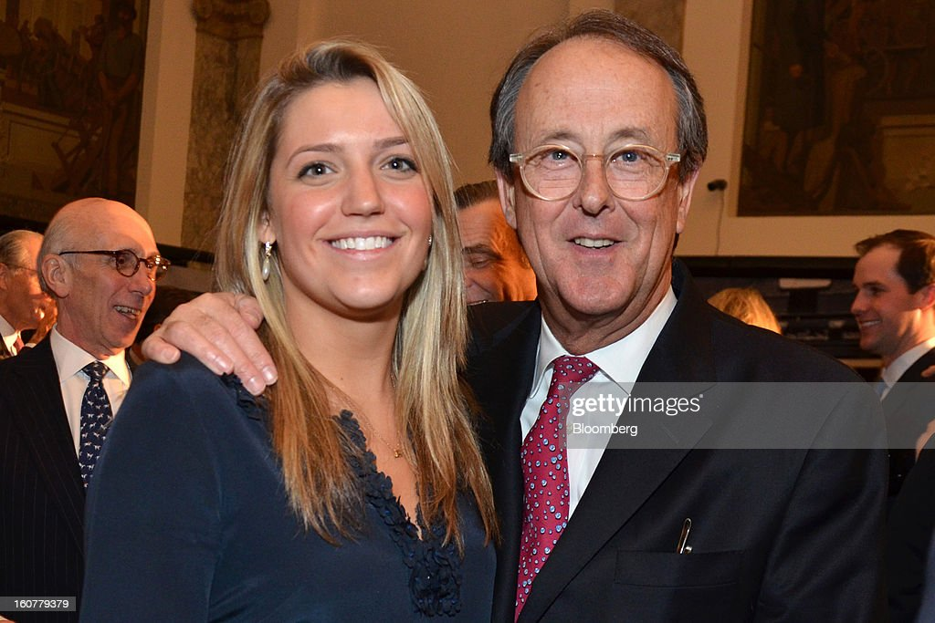 Katie Harrison, a senior at Yale College majoring in political science, from left, and Erskine Bowles, co-chairman of President Obama's 2010 budget-deficit commission, stand for a photograph at a gala for the Museum of American Finance held at the museum in New York, U.S., on Tuesday, Jan. 8, 2013. The Museum of American Finance has a $3.6 million budget and last year had 43,000 visitors. Photographer: Amanda Gordon/Bloomberg via Getty Images