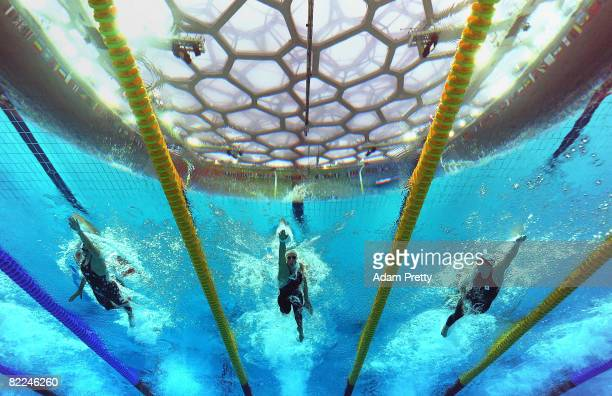 Katie Hoff of the United States Federica Pellegrini of Italy and Rebecca Adlington of Great Britain compete in the Women's 400m Freestyle Final held...