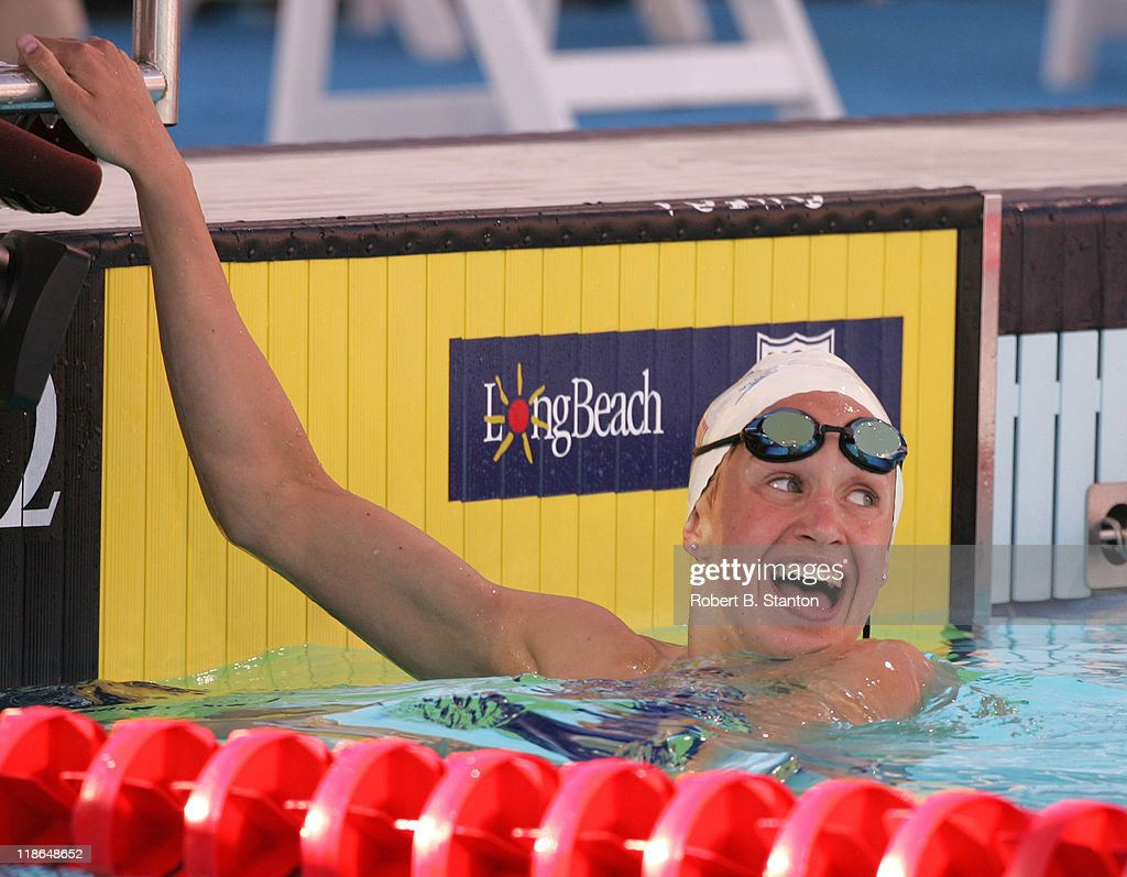Katie Hoff smiles after winning the Women's 200 IM at the Olympic Swim Team Trials at the Charter All Digital Aquatic Centrein Long Beach, California, June 10, 2004.