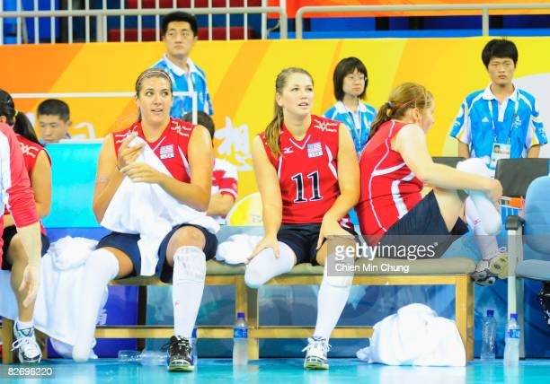 Katie Holloway and Allison Aldrich of the United States of America rest on the bench during the Sitting Volleyball match between USA and Lithuania...