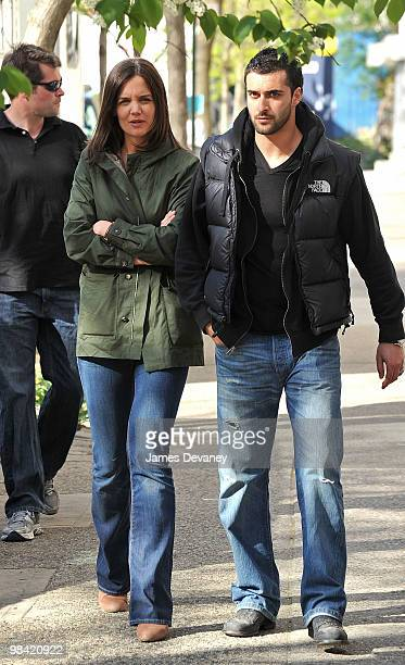 Katie Holmes and bodyguard seen on location of 'Son of No One' in the Bronx on April 12 2010 in New York City