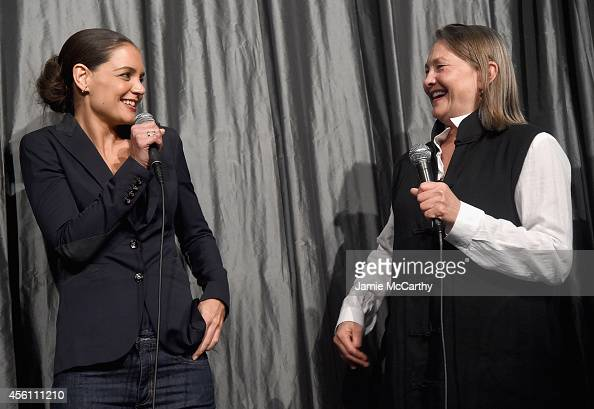 Katie Holmes and Cherry Jones attend the premiere of 'Days And Nights' at IFC Center on September 25 2014 in New York City