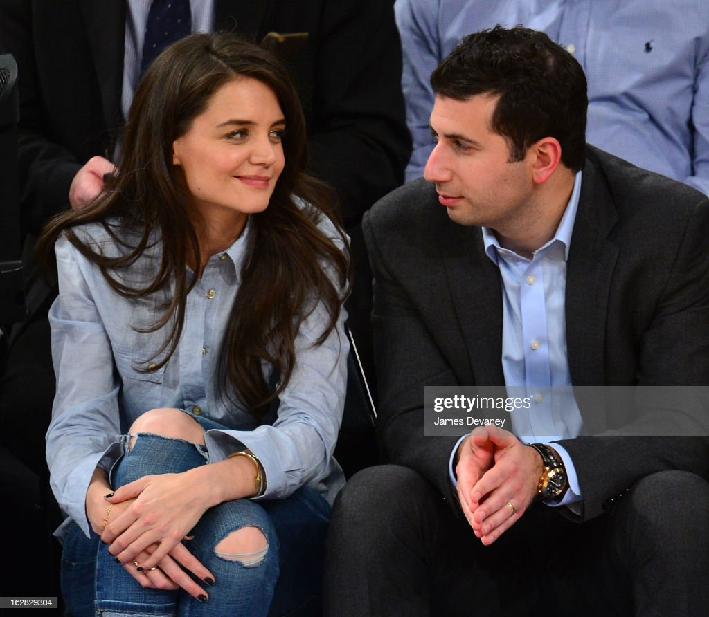 <a gi-track='captionPersonalityLinkClicked' href=/galleries/search?phrase=Katie+Holmes&family=editorial&specificpeople=201598 ng-click='$event.stopPropagation()'>Katie Holmes</a> and guest attend the Golden State Warriors vs New York Knicks game at Madison Square Garden on February 27, 2013 in New York City.