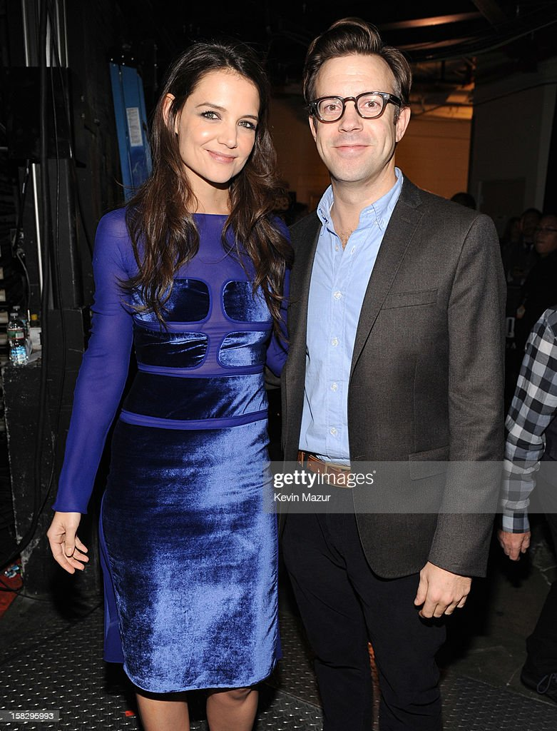 Katie Holmes and Jason Sudeikis backstage during '12-12-12' a concert benefiting The Robin Hood Relief Fund to aid the victims of Hurricane Sandy presented by Clear Channel Media & Entertainment, The Madison Square Garden Company and The Weinstein Company>> at Madison Square Garden on December 12, 2012 in New York City.