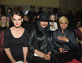 Katie Holmes and Mary J Blige attend Front Row Backstage MercedesBenz Fashion Week Fall 2015 at Vanderbilt Hall at Grand Central Terminal on February...