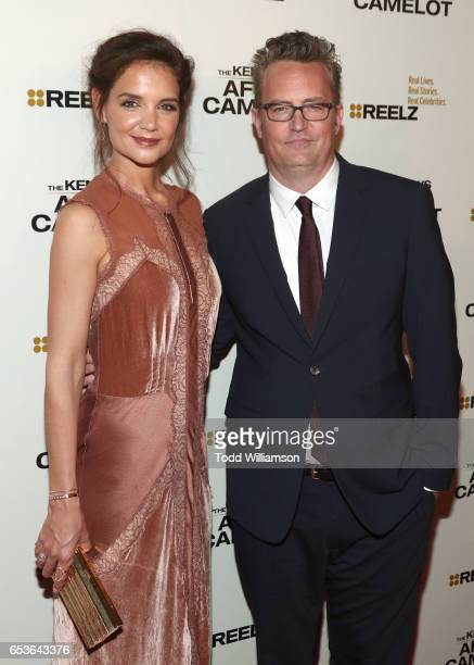 Katie Holmes and Matthew Perry attend the premiere of Reelz's 'The Kennedys After Camelot' at The Paley Center for Media on March 15 2017 in Beverly...