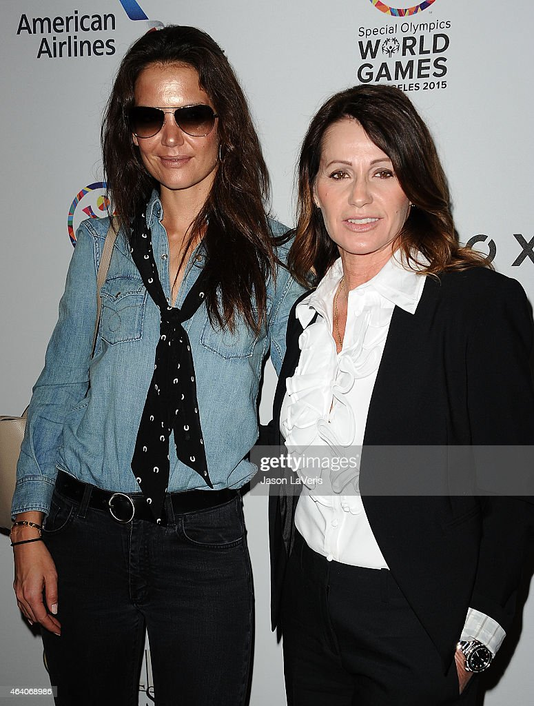 Katie Holmes and Nadia Comaneci attend the 3rd annual Gold Meets Golden at Equinox Sports Club West LA on February 21, 2015 in Los Angeles, California.