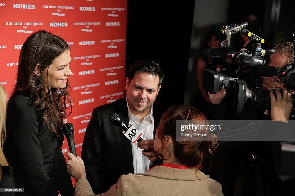 <a gi-track='captionPersonalityLinkClicked' href=/galleries/search?phrase=Katie+Holmes&family=editorial&specificpeople=201598 ng-click='$event.stopPropagation()'>Katie Holmes</a> and Narciso Rodriguez arrive at the Narciso Rodriguez For Kohl's DesigNation Collection Launch at IAC Building on October 22, 2012 in New York City.