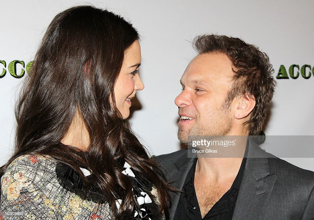 Katie Holmes and Norbert Leo Butz pose at the Opening Night After-Party for 'Dead Accounts' on Broadway at Gotham Hall on November 29, 2012 in New York City.