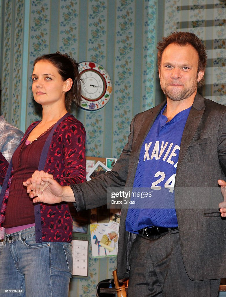 Katie Holmes and Norbert Leo Butz take their curtain call on Opening Night of 'Dead Accounts' on Broadway at The Music Box Theatre on November 29, 2012 in New York City.