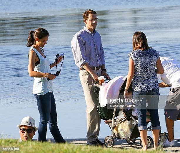 Katie Holmes and Ryan Reynolds are seen filming 'Woman in Gold' on July 16 2014 in Los Angeles California