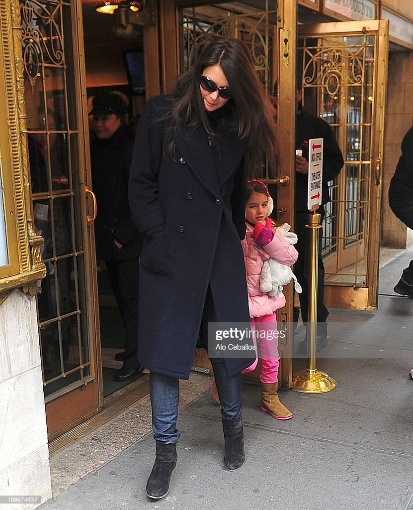<a gi-track='captionPersonalityLinkClicked' href=/galleries/search?phrase=Katie+Holmes&family=editorial&specificpeople=201598 ng-click='$event.stopPropagation()'>Katie Holmes</a> and <a gi-track='captionPersonalityLinkClicked' href=/galleries/search?phrase=Suri+Cruise&family=editorial&specificpeople=4029470 ng-click='$event.stopPropagation()'>Suri Cruise</a> are seen arriving at Broaway show 'Dead Accounts' on January 2, 2013 in New York City.