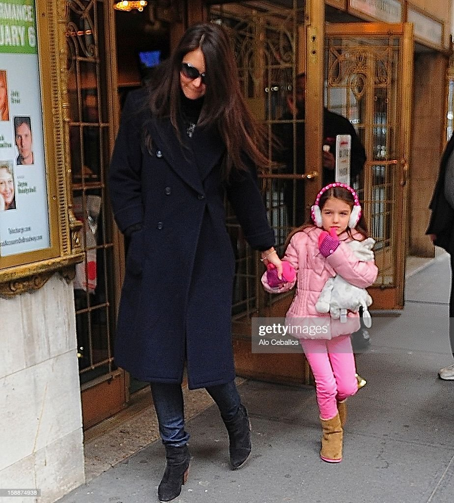 Katie Holmes and Suri Cruise are seen arriving at Broaway show 'Dead Accounts' on January 2, 2013 in New York City.
