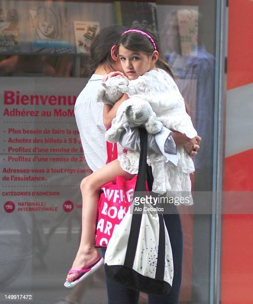Katie Holmes and Suri Cruise are seen at the MOMA on August 6 2012 in New York City