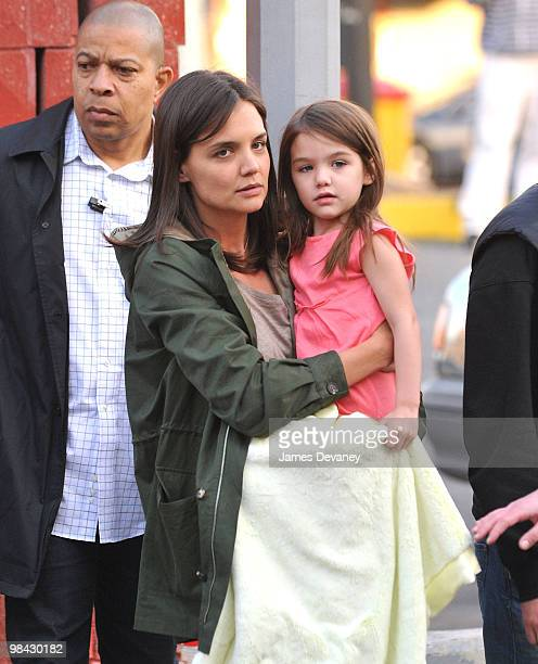 Katie Holmes and Suri Cruise seen on location of 'Son of No One' in the Bronx on April 12 2010 in New York City