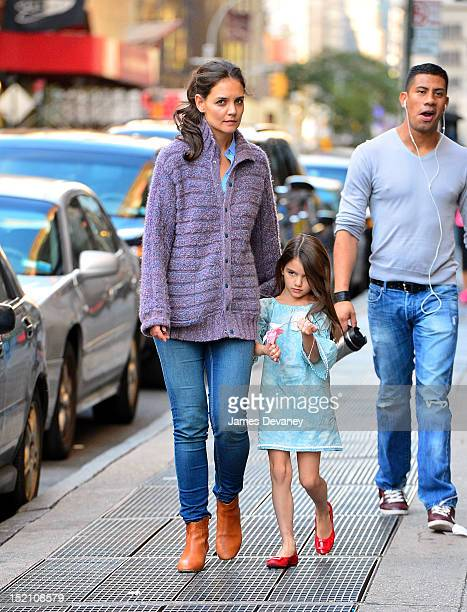 Katie Holmes and Suri Cruise seen on the streets of Manhattan on September 16 2012 in New York City