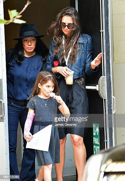 Katie Holmes and Suri Cruise seen on the streets of Manhattan on October 4 2013 in New York City