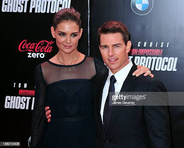 Katie Holmes and Tom Cruise attend the 'Mission Impossible Ghost Protocol' US premiere at the Ziegfeld Theatre on December 19 2011 in New York City