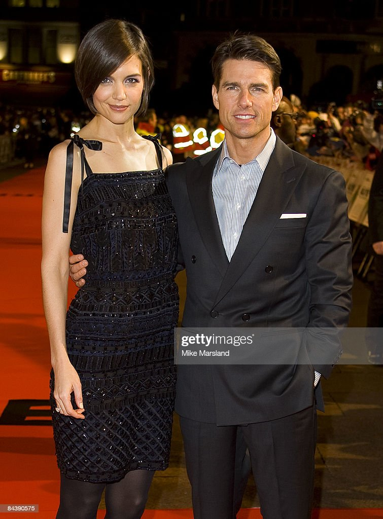 Katie Holmes and Tom Cruise attends the UK Premiere of Valkyrie at Odeon Leicester Square on January 21 2009 in London England