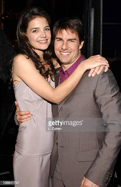 Katie Holmes and Tom Cruise during 2005 BET Awards Backstage and Audience at Kodak Theatre in Hollywood California United States