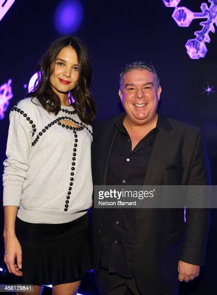 Katie Holmes and Z100 Jingle Ball host Elvis Duran pose backstage at Z100's Jingle Ball 2013 presented by Aeropostale at Madison Square Garden on...